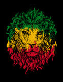 Rasta lion  3. Rasta theme with lion head on black background. Vector illustration Royalty Free Stock Photography