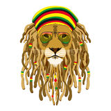Rasta lion. Vector illustration isolated on white Stock Photography