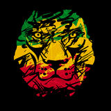 Rasta lion vector 2. Rasta theme with lion head on black background. Vector illustration Royalty Free Stock Image