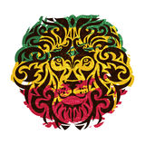 Rasta lion vector. Rasta theme with lion head on a white background. Vector illustration Royalty Free Stock Photos