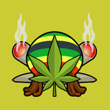 Rasta logo Cannabisblad och skarv eller spliff Rastaman lock och stock illustrationer