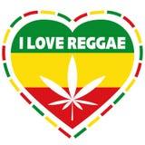 Rasta logo in rastafarian colours, heart shape with marijuana leaf, vector illustration Royalty Free Stock Photography