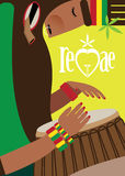 Rasta man. Vector illustration on color background featuring rasta, playing reggae on the drum Royalty Free Stock Images