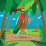 Rasta man walking. Vector illustration on color background featuring rasta man walking in the tropics with drum and bag Stock Image
