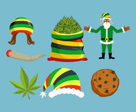 Rasta New Year icons set. Santa Claus and Big sack hemp. bag of. Marijuana. pile of green cannabis. Large joint or spliff. Smoking dope. Cheerful grandfather Royalty Free Stock Images