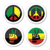 Rasta peace, hand gesture vector icons set Stock Photos