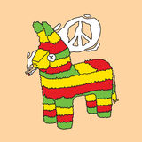 Rasta pinata vector illustration. Rasta smoke peace hippie pinata vector illustration Royalty Free Stock Images