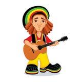 Rasta playing acoustic guitar. Vector illustration of rastaman playing acoustic guitar. Cute cartoon rastafarian guy with dreadlocks wearing red shirt, yellow Stock Images