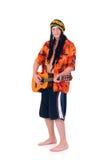 Rasta reggae guy. Handsome Caribbean, humorous Rasta reggae guy with guitar. Studio, white background royalty free stock images
