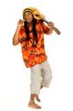 Rasta reggae guy. Handsome Caribbean, humorous African Ameciran Rasta reggae guy with joint and guitar. Studio, white background stock photo