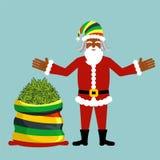 Rasta Santa Claus önska Stor santas säckhampa Påse av marijuan Royaltyfria Bilder