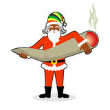 Rasta Santa Claus great joint or spliff. Smoking drug. Cheerful Stock Image