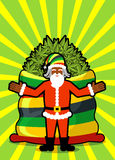 Rasta Santa Claus wishes. Big Red sack hemp. Bag of marijuana. P. Ile of green cannabis. Smoking drug. Cheerful grandfather with dreadlocks and Rastafarian hat royalty free illustration