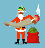 Rasta Santa Claus wishes. Big Red sack hemp . Bag of marijuana. Pile of green cannabis. great joint or spliff. Smoking drug. Cheerful grandfather with Royalty Free Stock Images