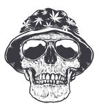 Rasta Skull in Hat and Sunglasses Royalty Free Stock Photography