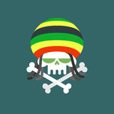 Rasta skull. Skull addict with dreadlocks and bones. Dead from d Stock Photography