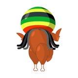 Rasta turkey. Reggae takes and roasted  fowl. Food for Rastafari Stock Photo
