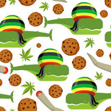 Rasta whale and cookies seamless pattern. Large marine animals i Royalty Free Stock Photo