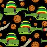 Rasta whale and cookies seamless pattern. Large marine animals i Stock Photography