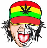 Rasta zombie. Style fashionable mascot  photo llustrations eye cute tattoo weed cannabis Stock Photo