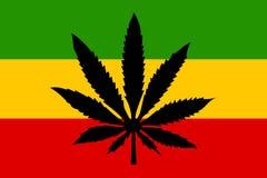 Rastafari-Flagge mit Hanfblatt vektor abbildung
