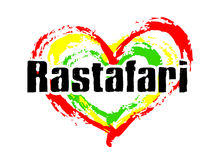 Rastafari Love. Black Rastafari text with heart - green, red and yellow royalty free illustration