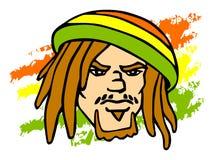 Rastafarian. Reggae character. Portrait of Rastafarian. Vector iluustration Stock Photo