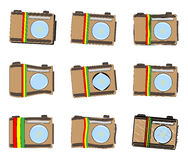 Rastafarian camera icon set Stock Photography