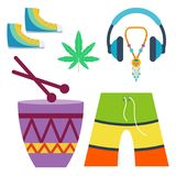 Rastafarian cannabis peace ganja icons set in flat style marijuana smoking equipment vector illustration Royalty Free Stock Photos