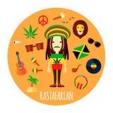 Rastafarian Character Accessories Flat Round Illustration royalty free illustration