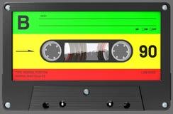 Rastafarian a coloré la cassette sonore avec l'autocollant et le label images stock