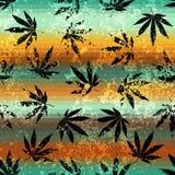 Rastafarian colors pattern and grunge hemp leaves. vector illustration
