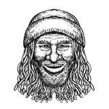 Rastafarian Dude Tattoo Grayscale. Tattoo style illustration of a Rastafarian dude, Rastafari or guy practising Rastafarianism, an Abrahamic religion developed stock illustration