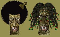 Rastafarian en afro Amerikaanse tiki Royalty-vrije Stock Afbeelding