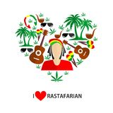 Rastafarian flat design. Set of icons in the style of a flat design on the theme of Rastafarian Royalty Free Stock Photography