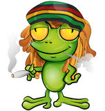 Rastafarian frog cartoon Stock Photo
