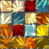 Rastafarian grunge hemp leaves. Seamless background pattern. Grunge ethnic background and hemp leaves royalty free illustration