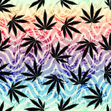 Rastafarian grunge hemp leaves. Seamless background pattern. Grunge ethnic background and hemp leaves Stock Image