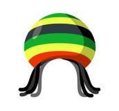 Rastafarian hat and dreadlocks isolated. Jamaica cap and hair Stock Images