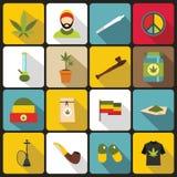 Rastafarian icons set, flat style Royalty Free Stock Image