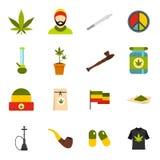 Rastafarian icons set, flat style Royalty Free Stock Photo