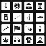 Rastafarian icons set squares vector Royalty Free Stock Image