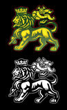 Rastafarian Lion of Judah. A Rastafarian illustration of the lion of Judah with dreadlocks and Reggae colors Stock Photos