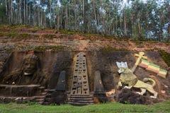 Rastafarian Sculptures in Ethiopia. Sculptures carved in the mountain near Addis Abeba, Ethiopia, representing rastafarian culture and Lalibela's temples Stock Photo
