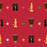 Rastafarian seamless pattern with bongos, flip flops and yellow bong for smoking marijuana on red background. Vector illustration Royalty Free Stock Photography