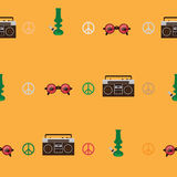 Rastafarian seamless pattern with old fashioned record player, round shaped glasses with marijuana leaf image, green bong on yello royalty free illustration