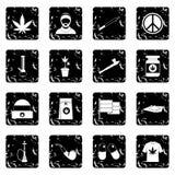 Rastafarian set icons, grunge style Stock Photo
