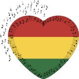 Rastafarian shaped heart. With random notes. Rasta Stock Image