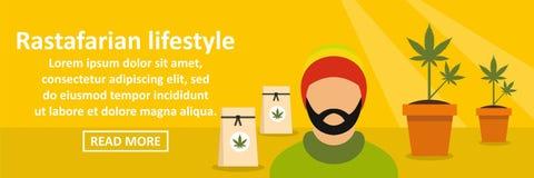 Rastafarian stylu życia sztandaru horyzontalny pojęcie ilustracja wektor