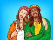 Rastafarian subkultury wystrzału sztuki wektoru ludzie ilustracja wektor
